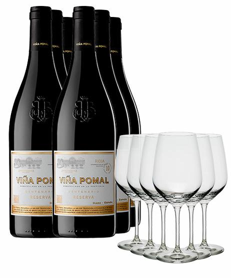 Pack Viña Pomal con copas (x6)