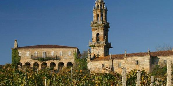 Viñedo O Naranxo con la iglesia y la Rectoral,futuro museo de o Viño de Galicia